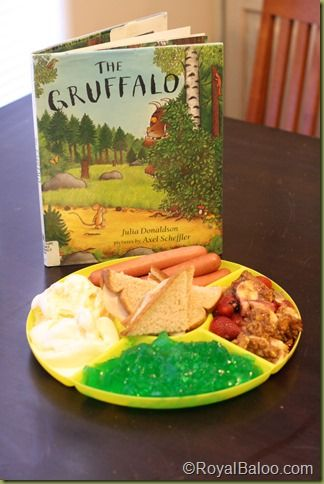 Gruffalo Feast - scrambled snake - jelly (but could do eg), mouse sandwiches, hotdogs = fox, gruffalo crumble and owl icecream. - fab idea!