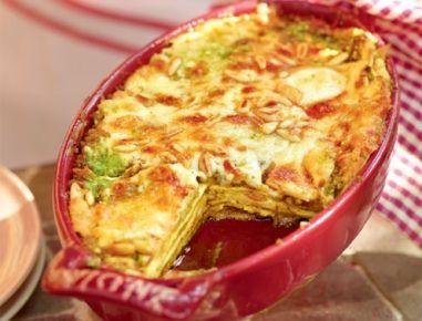 Für die Lasagne con pesto den Knoblauch schälen und mit einem Stößel oder der flachen Seite eines großen Messers kräftig andrücken. Die Butter in