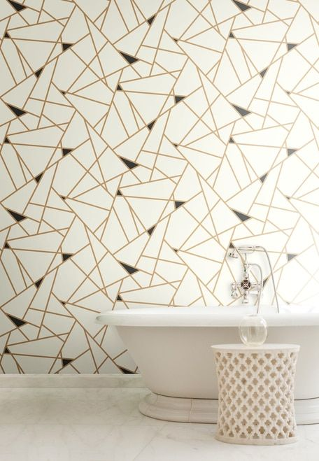 York Wallcoverings Risky Business 2 Ry2702 Prismatic Removable Wallpaper Metallic Gold Black White In 2018 Ii Pinterest