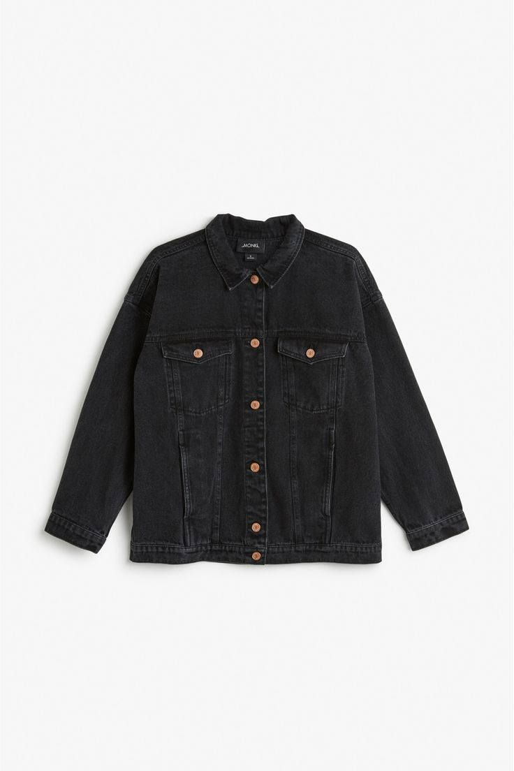 Monki Image 1 of Classic denim jacket in Black