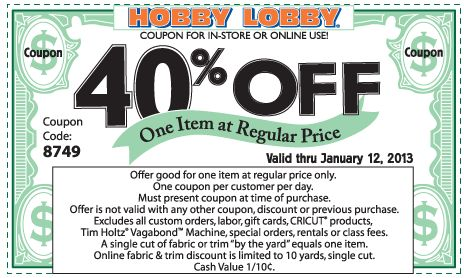 40% off a single item at Hobby Lobby, or online via checkout promo 9321 coupon via The Coupons App