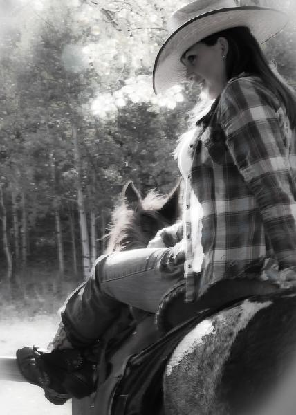 Cowgirl on her horse... I wanna do his someday...! :)