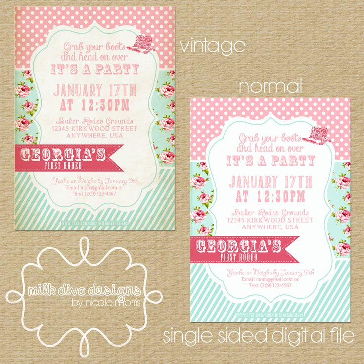 Cowgirl First Rodeo Birthday Party Invite Card by MilkDivaDesigns