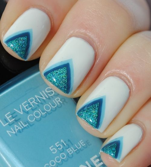 couldn't connect to the original post but credit to the owner: Nails Design, Chevronnail, Nailart, Triangles Nails, White Nails, Nails Polish Design, Nails Art Design, Blue Nails, Chevron Nails