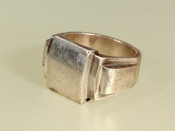 Art Deco Sterling Mens Signet Ring French Modernist 1930s Jewelry Size 10.25 US 62.5 FR