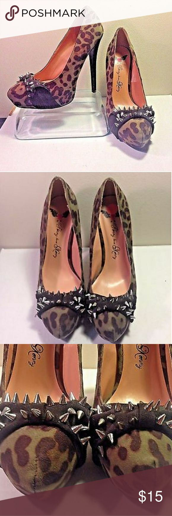 NWOT Penny Loves Kenny Faux Suede Heels Leopard platform pump. Silver metal spikes. Size 9 1/2 excellent condition NEVER BEEN WORN! Hot and sexy. Make your legs look super long! So amazing with a mini skirt or skinny jeans. Penny Loves Kenny Shoes Heels
