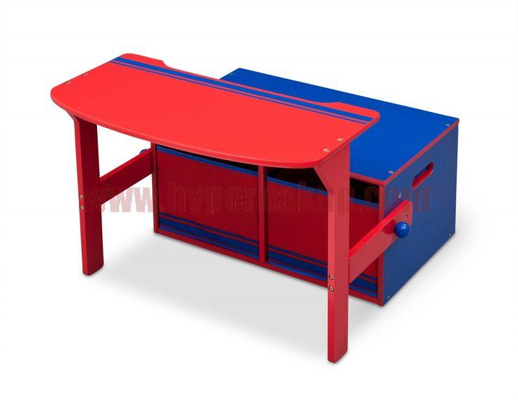 Detská lavica s úložným priestorom 3v1 modro - červená