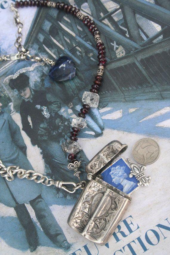 Antique silver Assemblage necklace Silver Vesta Antique