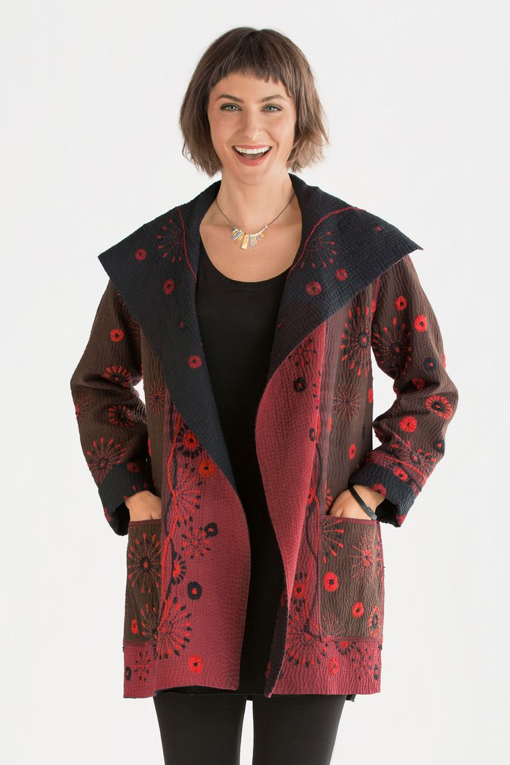 """""""Sun Ralli Pocket Jacket"""" created by designer Mieko Mintz. This fully reversible jacket wows with its hand-dyed fabric and intricate bursts of hand-stitched embroidery. #winter2014"""