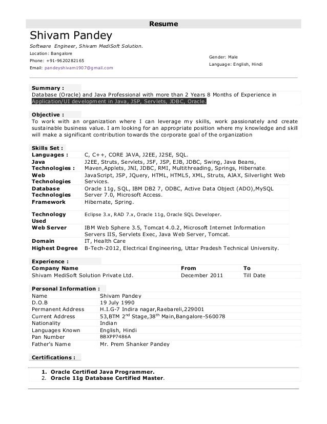 Resume Format For 6 Months Experience In Java Sample Resume Format Resume Format Resume Examples