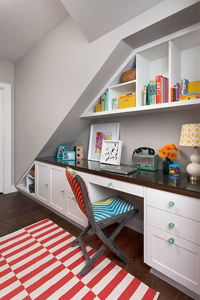 a homeoffice command center that doubles as a craft area fits neatly underneath the