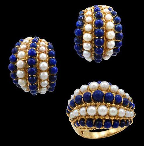 VAN CLEEF  ARPELS Pearl  Lapis Earrings  Ring - Yafa Jewelry