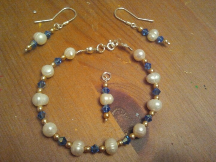 Handmade - natural pearls, Swarowski cristals and sterling silver 925