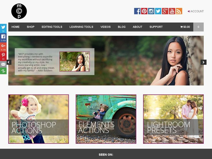 MCP's website is much more than just a shop: they sell Photoshop actions and editing tools online to help photographers worldwide sharpen their skills.