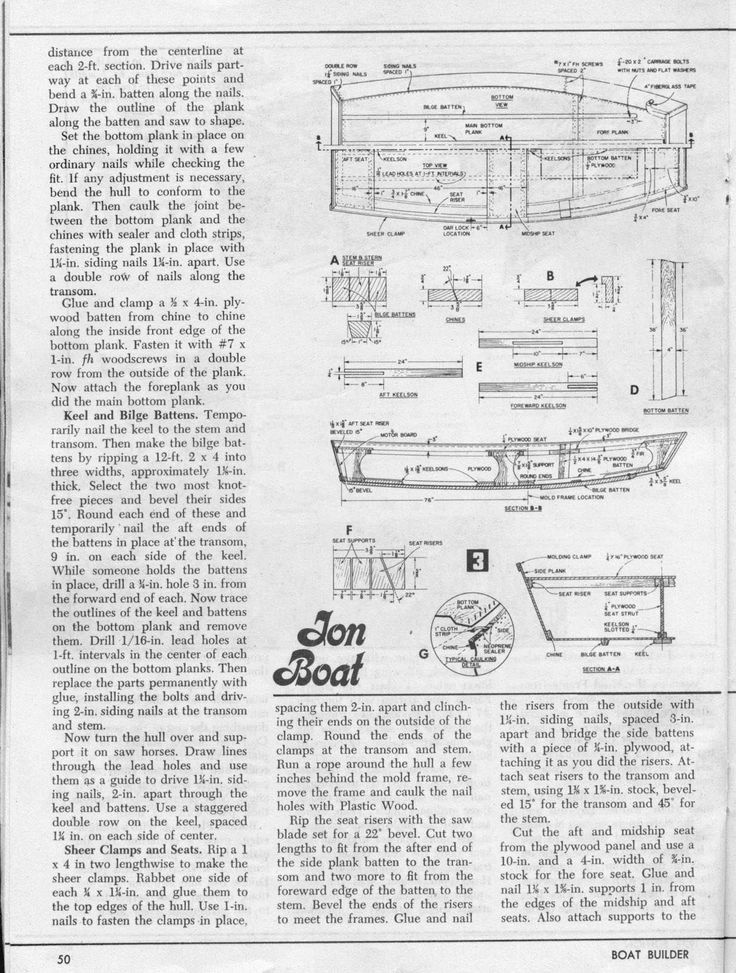Same is true with jon boats as with any other type of boats you may plan on building John Boat Plans. However if you are just starting out do look for a plan which has the exact dimension of the bo…