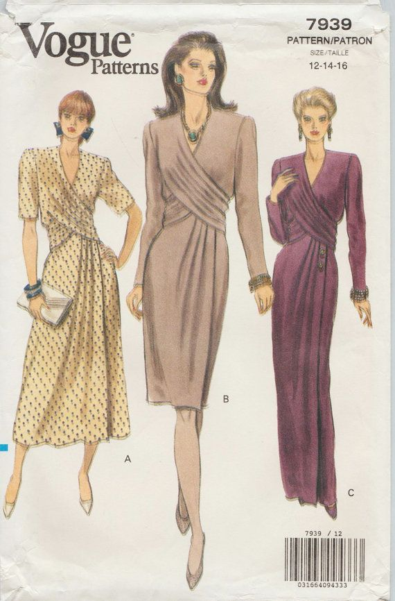 Vogue 7939 / Vintage naaien patroon / jurk Gown / maten 12 14 16