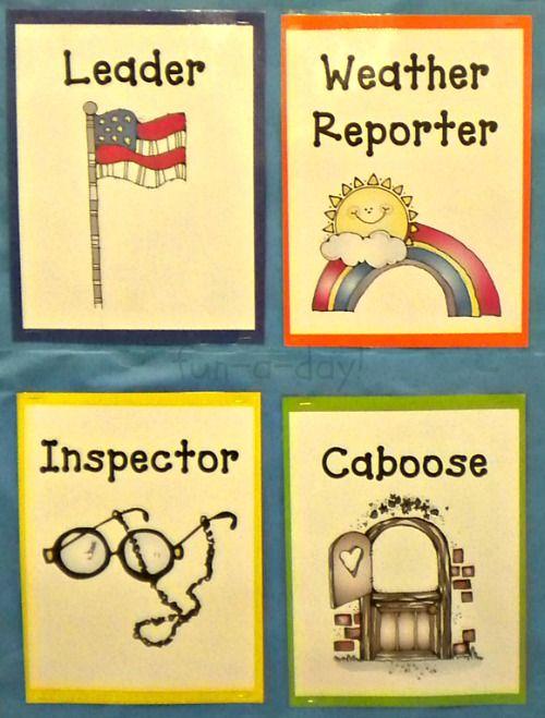 Preschool Classroom Jobs... I love the inspector one... sooooo doing this