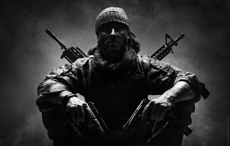 Soldier, gun, man, warrior