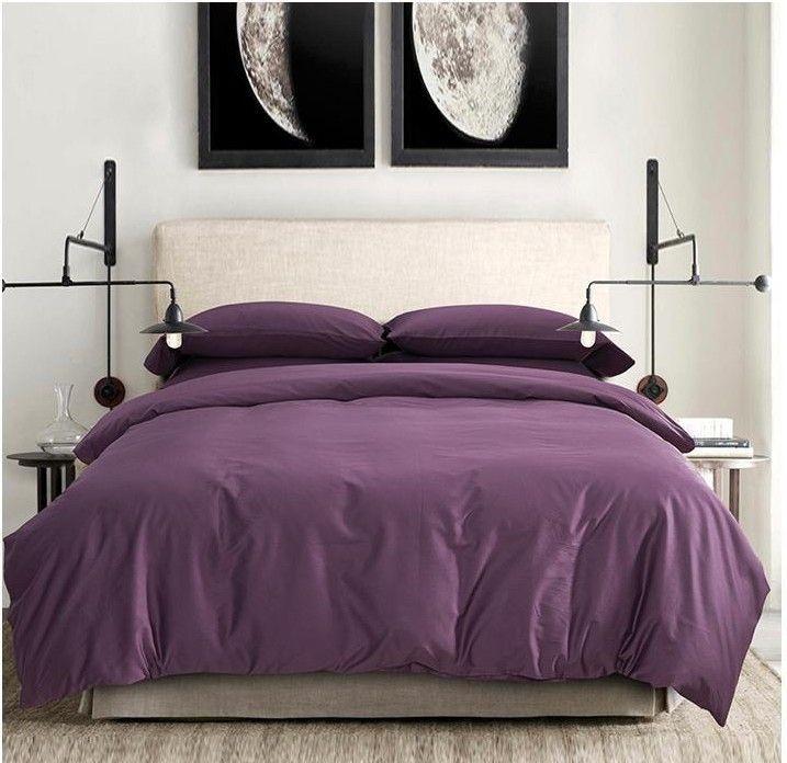 100 coton gyptien feuilles fonc profond violet ensembles de literie roi re - Taille lit queen size ...