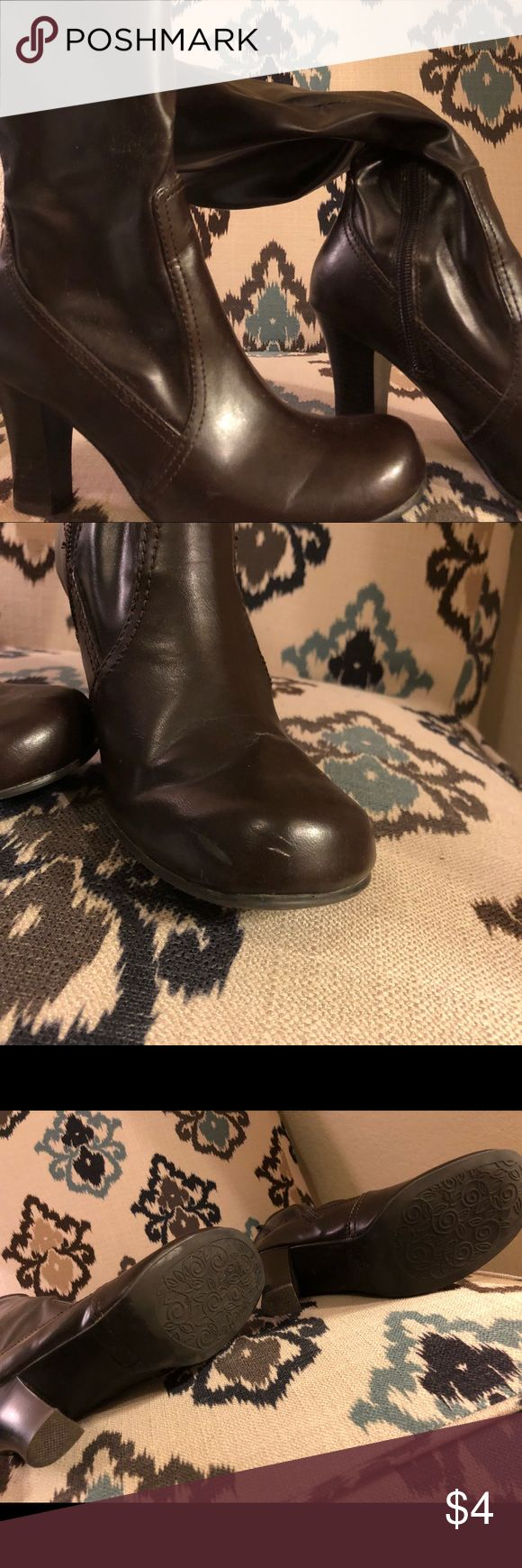 Brown boots w/ heel Good used condition. Small blemish on one toe of boot. So Wear It Declare It Shoes Heeled Boots