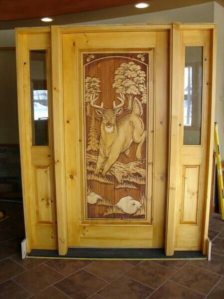 Deer Carved In Front Door Wooden Doors Cabin Doors