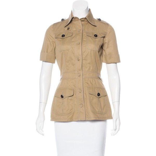 Pre-owned Balenciaga Short Sleeve Button-Up Top ($245) ❤ liked on Polyvore featuring tops, neutrals, short sleeve tops, balenciaga top, beige top, flap top and button down top