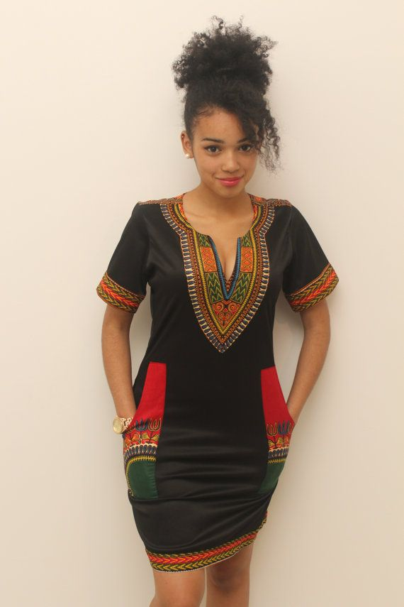 Dashiki black cotton dress by AfricanStyleAS on Etsy