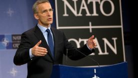 NATO Secretary General Jens Stoltenberg speaks during a media conference after a meeting of the NATO-Russia council at NATO headquarters in Brussels on Thursday, March 30, 2017. Ambassadors from NATO and Russia met for the first time this year in a fresh attempt to resolve some of their differences. (AP Photo/Virginia Mayo)