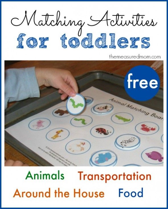 Printable Free Matching Activities for Toddlers, food, animals, transportation vehicles, around the house