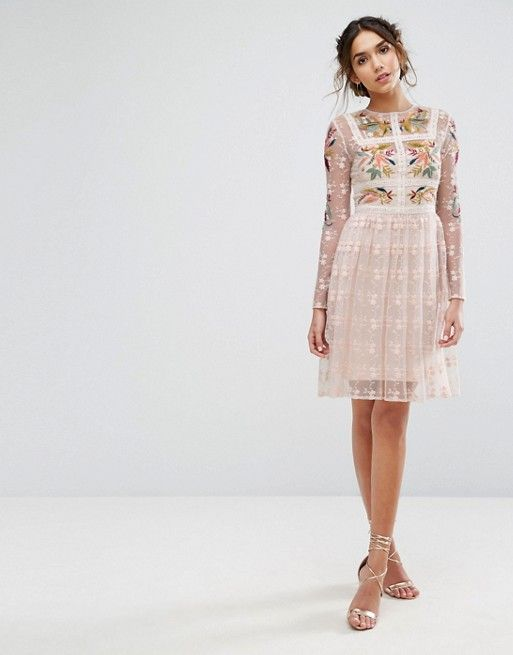 Frock & Frill Floral Embroidered Skater Mini Dress With Lace Trim