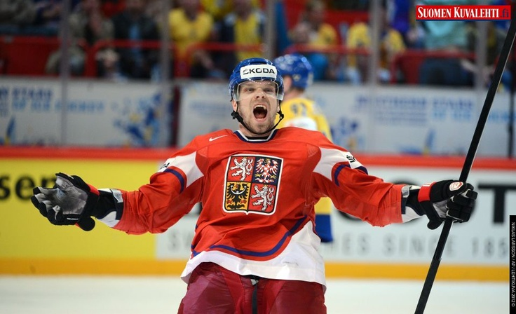 Czech player Milan Michalek celebrate scoring the game winning goal during the IIHF Ice Hockey World Championships quarterfinal match between Sweden and Czech republic at the Ericsson Globe Arena in Stockholm, Sweden, Thursday May 17th
