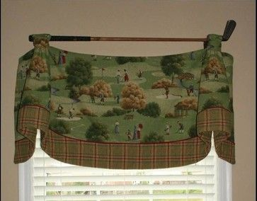 Imperial Valance With Contrast Banding Hanging From Antique Golf Club.
