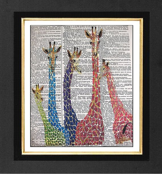"Giraffe Art-"" Friends with Color "" ORIGINAL ARTWORK Mixed Media art print on 8x10 Vintage Dictionary page, Dictionary art, Dictionary print"