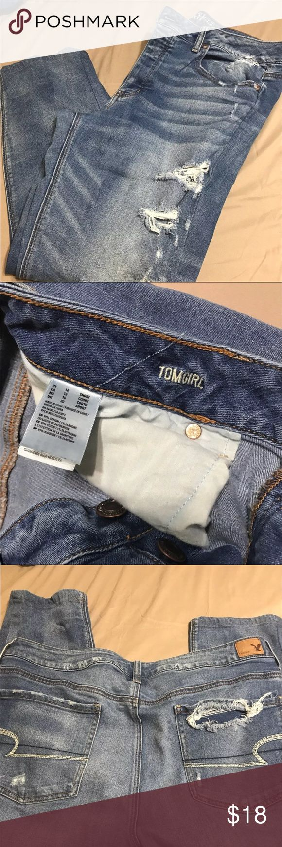 American eagle Tom girl jeans ae size 16 short American Eagle Outfitters Jeans Ankle & Cropped