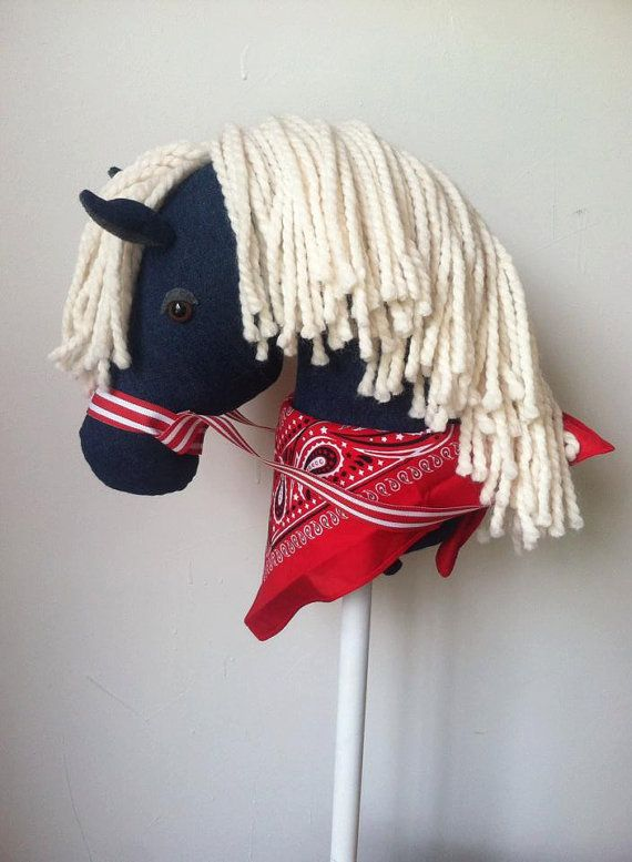 Demin horse with bandanna! keywords: kids toys, cowboy, cowgirl, horse, stick horse, hobby horse, birthday, christmas, holiday, best toys. horse crazy, baby shower, idea, diy inspiration, craft, diy, etsy, handmade, children, toy, riding, imagination, imaginative, active, equestrian, pony