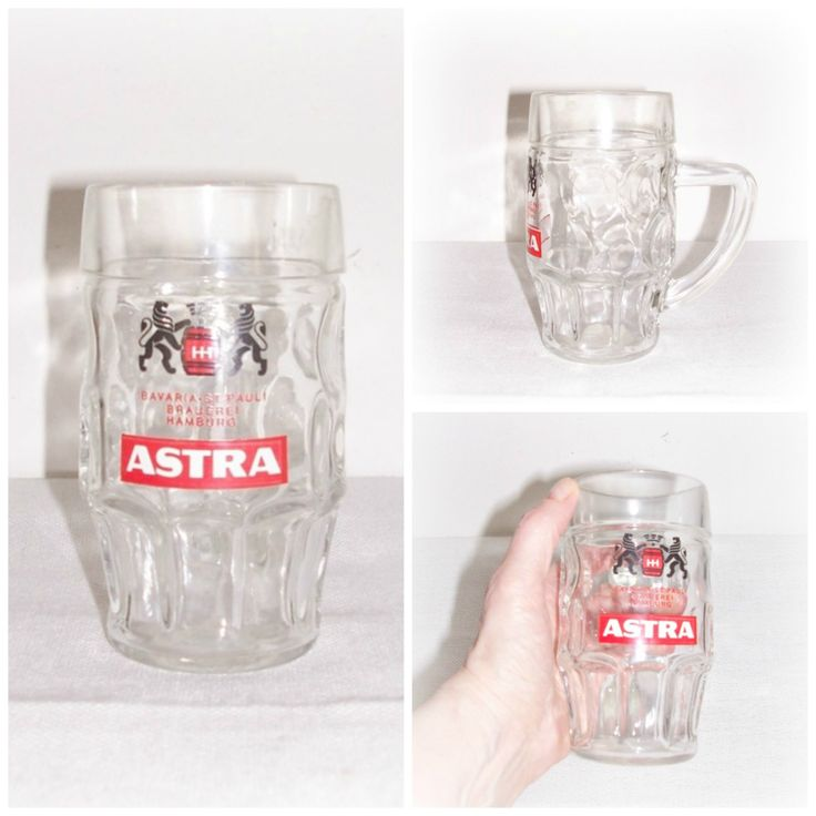 German Glass Beer Mug Stein Vintage ASTRA Bavaria St Pauli Brauerei Hamburg Label Mug Made in Germany 1980'S - pinned by pin4etsy.com