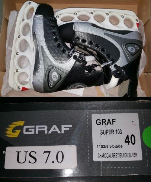 Men 26345: Graf Super Ice Hockey Skates Model Super 103 T-Blade Adult Men 40 / 7 New BUY IT NOW ONLY: $79.0
