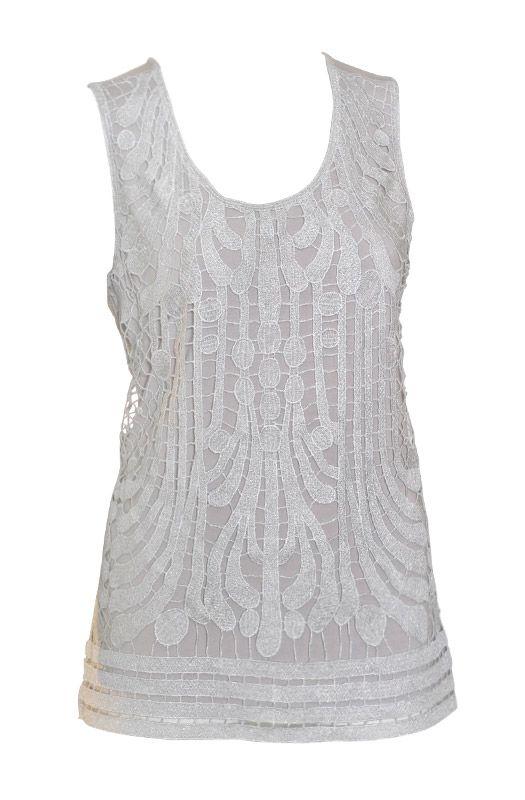 Liz Jordan Lurex Front Top $89.95  Sleeveless lurex front detail top with knit back 95% Rayon 5% Spandex  Item Code: 045314