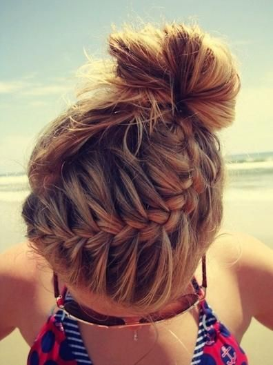 Ready to hit the sand for a beach day? Apply a hair product with SPF and throw it up in a French braided topknot. You can also use deep conditioner and use the sun's rays as a salon treatment.