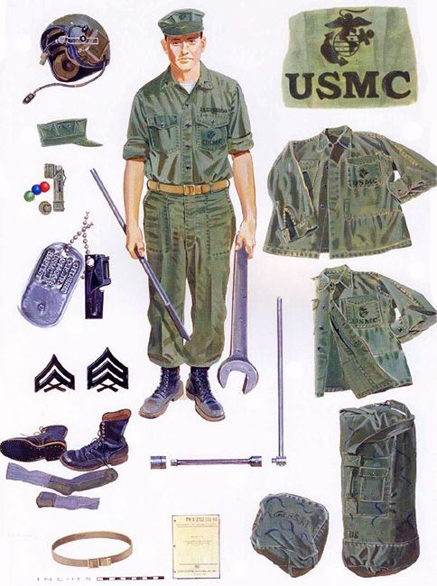 Basic crewman uniforms and maintenance equipment, 1967-68