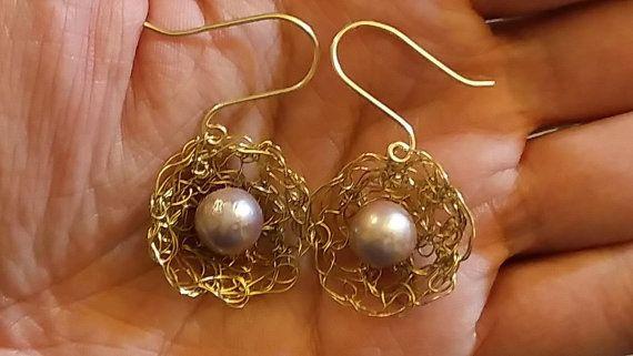 Wire crochet earrings wire flower shape by HandcraftByBijood
