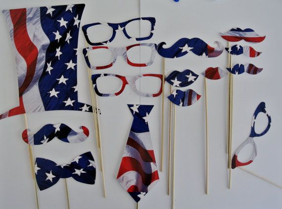 Four of July these  Team USA Shipped as seen with bamboo sticks attached  1 Top Hat  3 Clark Kent type glasses  2 Large Mustaches  1 Med Mustache  2 Large Lips  1 Small Lips  1 Bow Tie  1 Neck tie 1 Vintage type Glasses    Need some awesome Independance day Confetti? You can find it here https://www.etsy.com/listing/152853160/4-of-july-independance-day-2-inch?ref=shop_home_active  Visit the rest of my shop Here:  https://www.etsy.com/shop/PICWRAP  Looking for more awesome Photo Booths? Look…