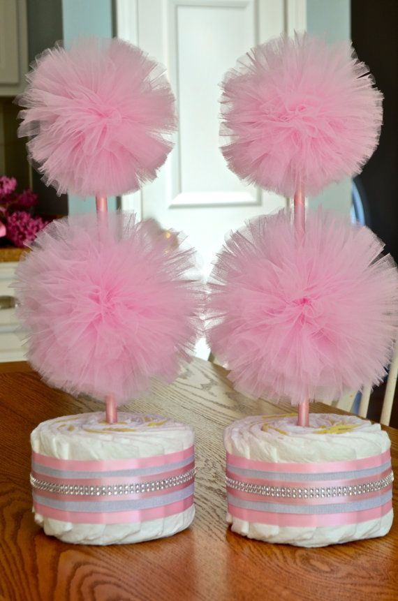 Unique Baby Shower Centerpieces Or Decorations   Tulle Pompom Diaper Cake  Topiaries For Baby Girls Or Boys   Custom Colors