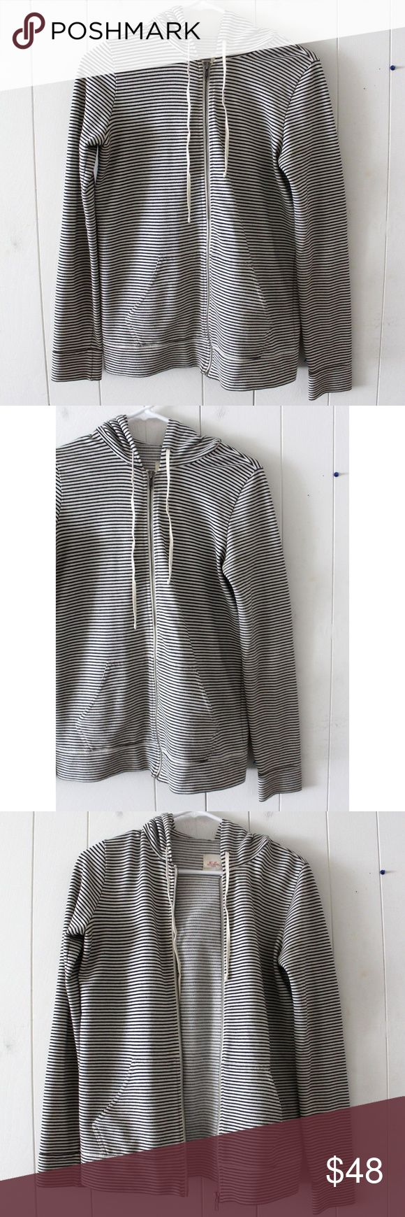 "Madewell Hi-Line Striped Zip-Up Drawstring Hoodie Madewell Hi-Line Striped Zip-Up Drawstring Hoodie - Size Small. Super cute and super comfortable.   Here are the measurements: shoulder to shoulder: 14"" sleeve: 25"" top to bottom trim: 24"" material: cotton/polyester blend features: two front pockets, drawstring neckline, hoodie  Super cute and classy! A great addition to your wardrobe! Madewell Tops Sweatshirts & Hoodies"