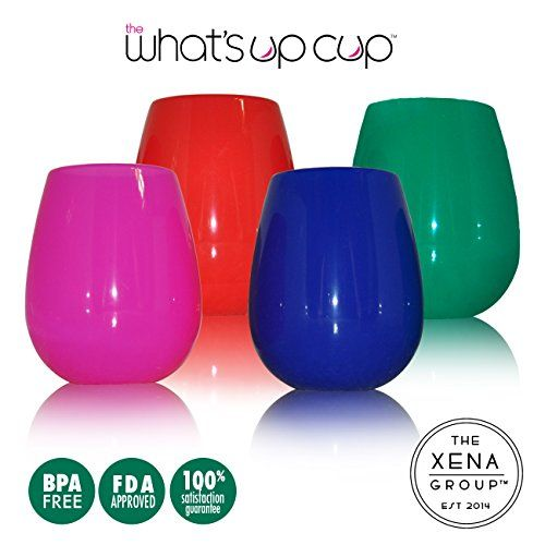 Stemless Silicone Wine Glasses - Set of 4 - 12 Oz Fun Vibrant Colors - Comes with Travel Bag - Unbreakable - Eco Friendly - Take Anywhere on the Go - For Wine and More - Summertime Must Have The What's Up Cup by The Xena Group http://www.amazon.com/dp/B00ZBP36VY/ref=cm_sw_r_pi_dp_Nuw0vb1C7QMR4