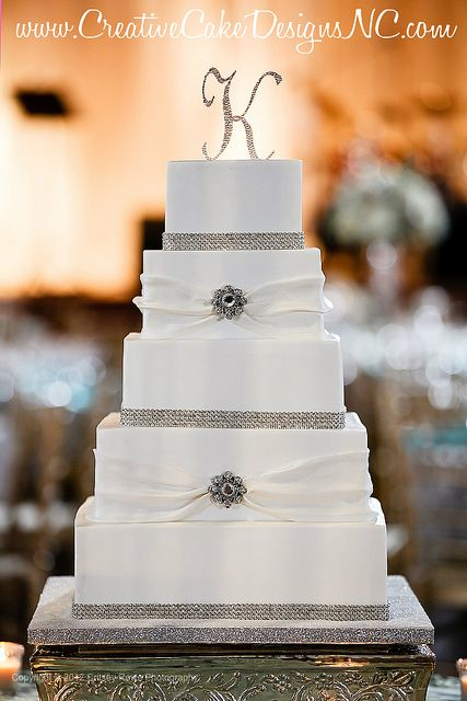 Simple and elegant square wedding cake by www.CreativeCakeDesignsNC.com