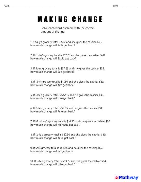 25+ melhores ideias sobre Making change worksheets no Pinterest - cashier skills