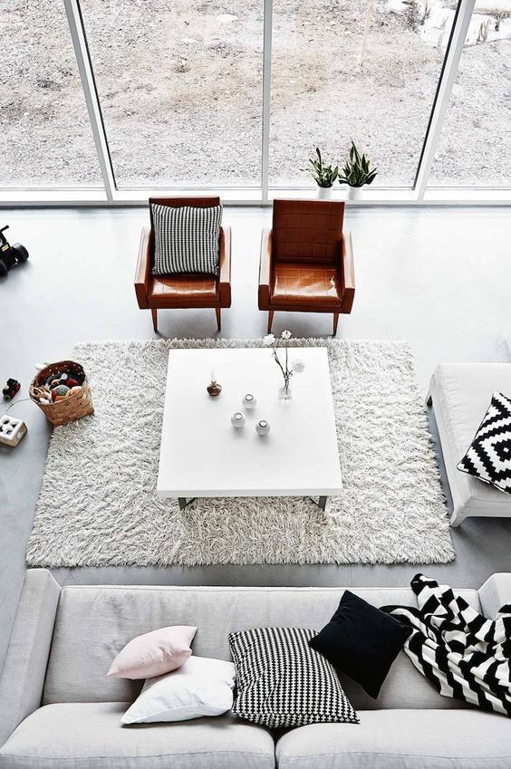The perfect sized rug. All furniture pieces touch the edge to create the space. A room within a room.