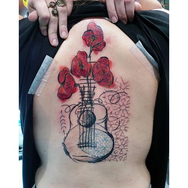 D Guitar Tattoo Designs