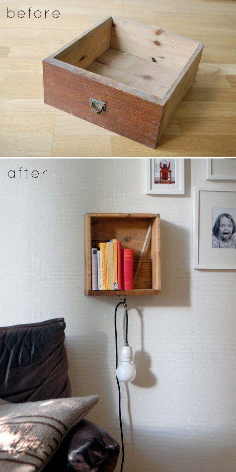 Cajón de madera transformado en librería